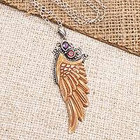 Garnet and amethyst pendant necklace, 'Ethereal Angel' - Garnet and Amethyst Angel Wing Pendant Necklace