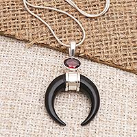 Garnet pendant necklace, 'Mysterious Crescent' - Sterling Silver and Garnet Pendant Necklace