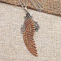Garnet pendant necklace, 'Angelic Song' - Bone and Garnet Angel Wing Pendant Necklace