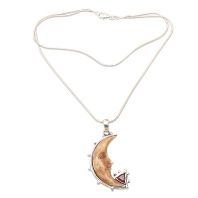 Garnet pendant necklace, 'Sunset Moon' - Garnet and Sterling Silver Crescent Moon Pendant Necklace