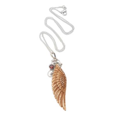 Garnet pendant necklace, 'Angelic Harmony' - Hand Crafted Bone and Garnet Pendant Necklace