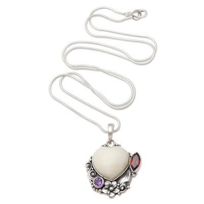 Garnet and amethyst pendant necklace, 'Garden of Love' - Amethyst and Garnet Heart-Themed Pendant Necklace