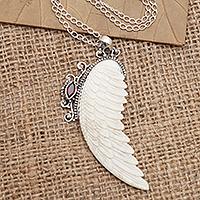 Garnet pendant necklace, 'Pale Angel' - Garnet and Sterling Silver Angel Wing Pendant Necklace