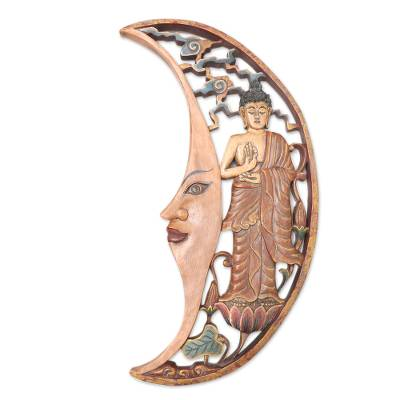 Buddha-Themed Crescent Moon Relief Panel