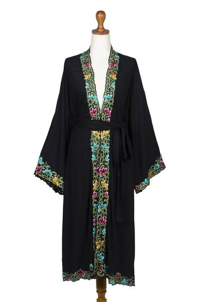 Embroidered Black Cotton Robe
