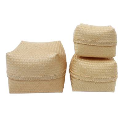 Decorative Bamboo Prayer Boxes (Set of 3)