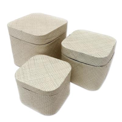 Decorative Pandan Leaf Prayer Boxes (Set of 3)