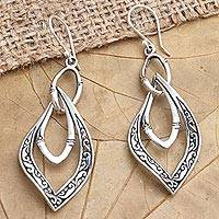 Sterling silver dangle earrings, 'Twisted Leaves' - Hand Made Sterling Silver Dangle Earrings
