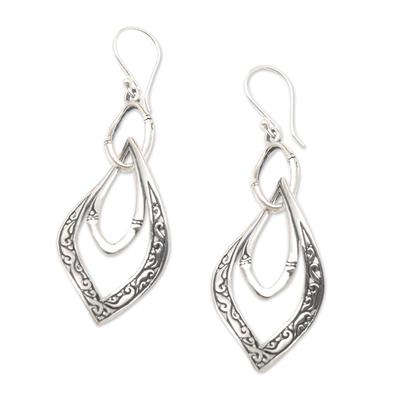 Sterling silver dangle earrings, 'Twisted Leaves' - Hand Made Sterling Silver Dangle Earrings