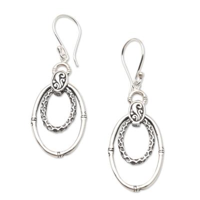 Sterling silver dangle earrings, 'Stay Humble' - Hand Crafted Sterling Silver Dangle Earrings