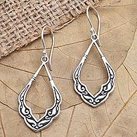 Sterling silver dangle earrings, 'Mirror, Mirror' - Handcrafted Sterling Silver Dangle Earrings