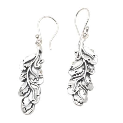 Sterling silver dangle earrings, 'Singaraja Leaves' - Artisan Crafted Sterling Silver Dangle Earrings
