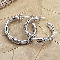Sterling silver half-hoop earrings, 'Bamboo for You' - Handmade Sterling Silver Half-Hoop Earrings