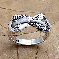 Sterling silver cocktail ring, 'Infinite Bamboo' - Sterling Silver Infinity Cocktail Ring