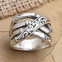Sterling silver band ring, 'Traditional Bamboo' - Bamboo-Inspired Sterling Silver Band Ring