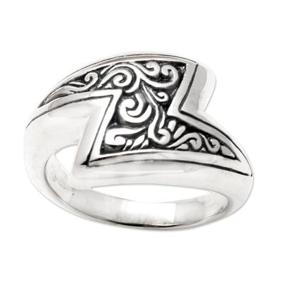 Sterling silver cocktail ring, 'Lightning Strike' - Hand Crafted Sterling Silver Cocktail Ring