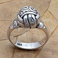 Sterling silver cocktail ring, 'Ball of Bamboo' - Handcrafted Sterling Silver Cocktail Ring