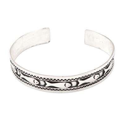 Handmade Sterling Silver Fish-Motif Cuff Bracelet