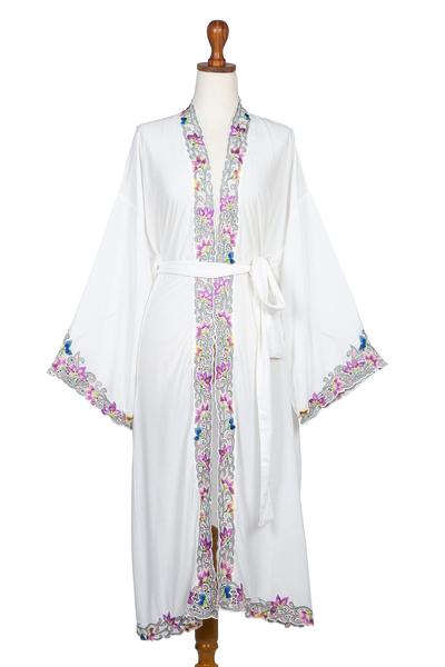 Embroidered White Cotton Robe