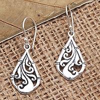 Sterling silver dangle earrings, 'Easy to Spot' - Hand Made Sterling Silver Dangle Earrings