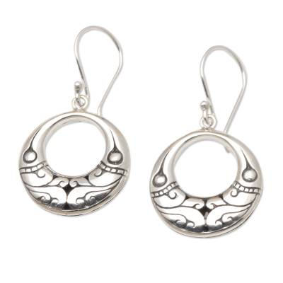 Sterling silver dangle earrings, 'Curved Bamboo' - Artisan Crafted Sterling Silver Dangle Earrings