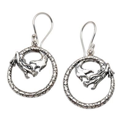 Sterling Silver Dragon-Motif Dangle Earrings