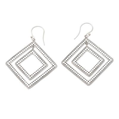 Sterling Silver Diamond-Shaped Dangle Earrings