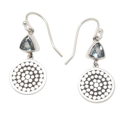 Sterling Silver and Blue Topaz Balinese Earrings