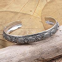 Sterling silver cuff bracelet, 'Silver Botanicals' - Hand Crafted Sterling Silver Cuff Bracelet