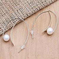 Cultured pearl drop earrings, 'Ocean Pearl' - Cultured Pearl and Sterling Silver Drop Earrings
