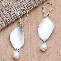 Cultured pearl dangle earrings, 'Every Eye' - Cultured Pearl and Sterling Silver Dangle Earrings