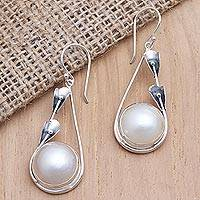 Cultured pearl dangle earrings, 'Forest by the Beach' - Handcrafted Pearl and Sterling Silver Dangle Earrings