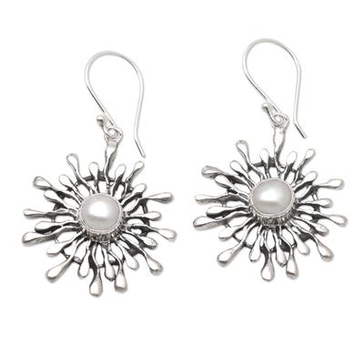 Cultured pearl dangle earrings, 'Radial Pearl' - Handmade Sterling Silver and Pearl Dangle Earrings
