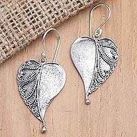 Sterling silver dangle earrings, 'Empty Love' - Sterling Silver Heart-Themed Dangle Earrings