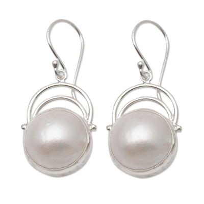 Cultured pearl dangle earrings, 'Ocean Undertow' - Balinese Pearl and Sterling Silver Dangle Earrings