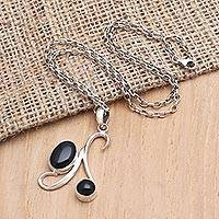 Onyx pendant necklace, 'Midnight Oil' - Onyx and Sterling Silver Pendant Necklace