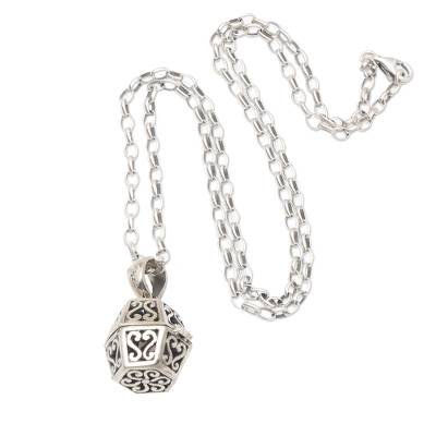 Sterling silver locket necklace, 'Protect Yourself' - Artisan Crafted Sterling Silver Locket Necklace