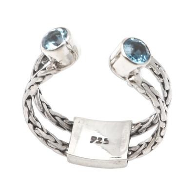 Blue topaz cocktail ring, 'Ocean Sparkle' - Sterling Silver and Blue Topaz Cocktail Ring