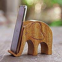 Wood phone stand, 'Dialing Elephant'