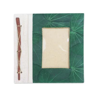 Green Natural Fiber Leaf-Motif Photo Album