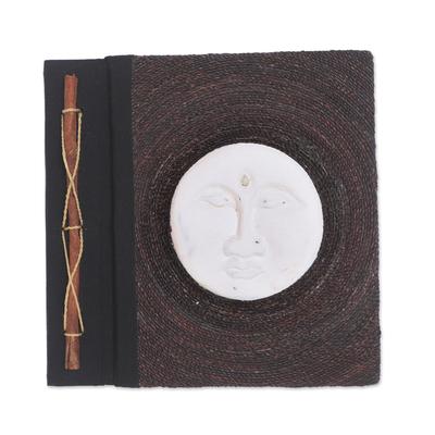 Albesia Wood and Natural Fiber Moon-Motif Photo Album