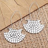 Sterling silver drop earrings, 'Bright Marquee' - Hand Made Sterling Silver Drop Earrings
