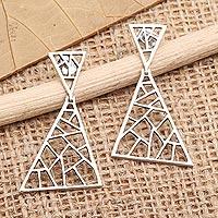 Sterling silver dangle earrings, 'Broken Window' - Sterling Silver Triangular Dangle Earrings