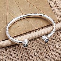Blue topaz cuff bracelet, 'Sparkling Whitecaps' - Sterling Silver and Blue Topaz Cuff Bracelet
