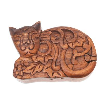 Hand Made Suar Wood Cat Puzzle Box