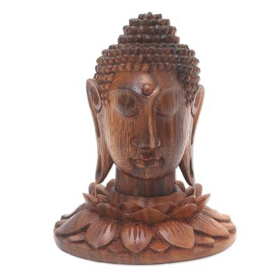 Hand Crafted Suar Wood Buddha Statuette