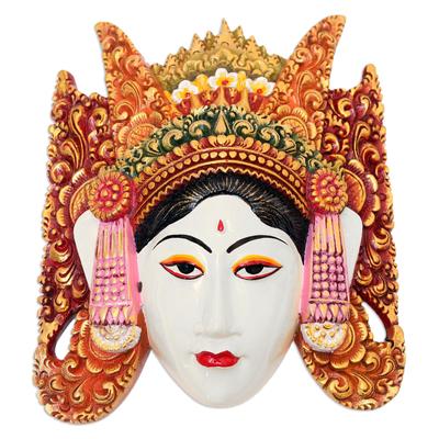Colorful Balinese Suar Wood Legong Keraton Dance Mask