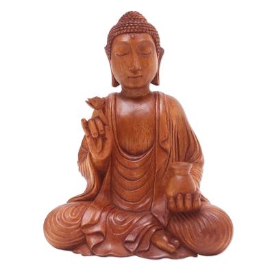 Hand Made Suar Wood Buddha Sculpture