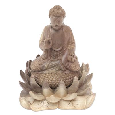 Hibiscus Wood Buddha and Lotus Sculpture