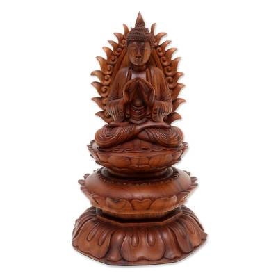 Hand Crafted Suar Wood Buddha Sculpture